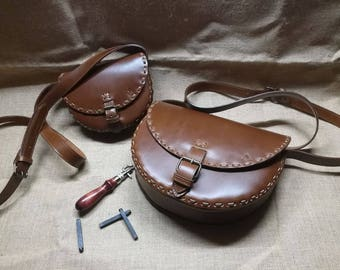 "Tolfa Leather Purse Bag style ""Tolfa"" Made in Italy hand-sewn"