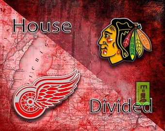 House Divided Hockey, House Divided, House Divided Blackhawks, House Divided Red Wings, Hockey Man Cave, House Divided Gift