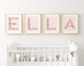 Sweet Flower Letters Fine Art Prints - Spell out your baby's or child's name for a personalized look for their room or nursery