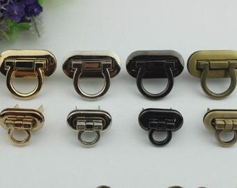 2pcs Large Purse lock gold silver brass Gun twist purse turn lock clutch clock Turn Lock Fastner,Purse bag handbag Latch hardware
