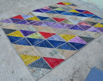 5'9 x 7'9 Ft - TURKISH PATCHWORK RUG , Vintage overdyed Patchwork Area Rug