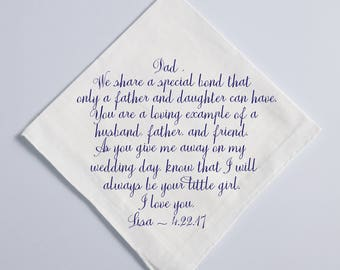Wedding Handkerchief, Father of the Bride Handkerchief, Dad Handkerchief, Hankie, Parents Gift, NAVY Printed Custom Handkerchief, 47