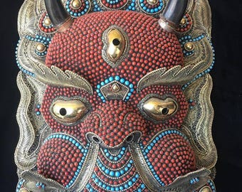 """Magnificent Nepal Silver-plated Turquoise & Coral Bhairab Mask – the """"Mask of Annihilation"""""""