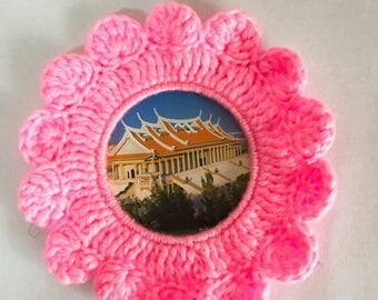 Pink sun flower shape handmade weave ornaments