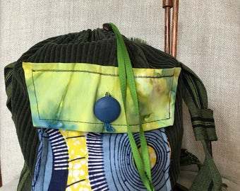 Upcycled Fabric Bag for Cosmetics, Projects, Knitting, Lunch Bag, Crafts Olive Green, Blues and Yellows
