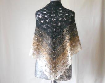 Black and Tan gradient yarn hand crocheted Virus shawl.