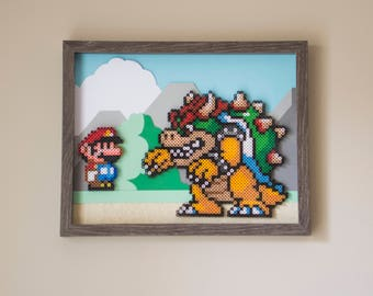 Mario and Bowser Framed Perler Bead Art