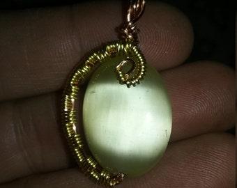 Half wire wrap pendant
