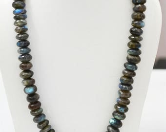 AA Labradorite Blue Fire FACETED  Rondelles Necklace / 20 Inch / 187grams