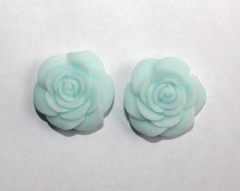 Pastel Turquoise Rose Studs
