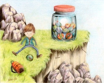 Illustration about playing with marbles; child play