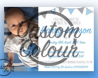 Custom Colour - Customised, Simple Christening/Baptism Invitation