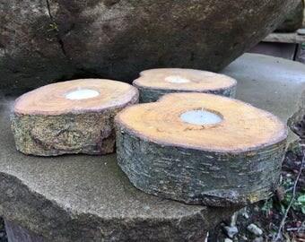 Rustic Hard Wood Tea light Candle Holder