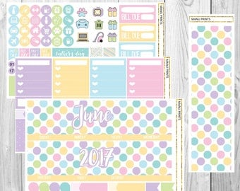 Colorful Dots Monthly Kit Planner Stickers for ELPC June 2017