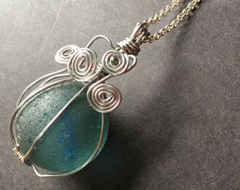 XL Blue Sea Glass Marble Necklace - Authentic Surf Tumbled