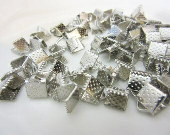 Connector Ribbon, wire, organza, 6mm, silver, Dull Silver, metal, billesetplus