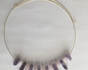 Amethyst and rose quartz gold plated memory wire necklace