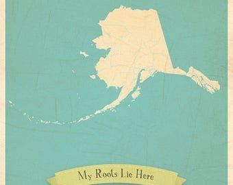 Map Wall Decor, Map Poster, Map Art Print, Map Print, 11x14, Customized Print, Alaska Roots Map