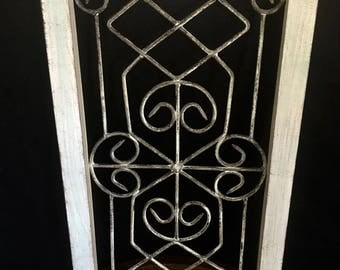 Distressed Wood Framed Wrought Iron Wall Decor.  Whitewashed wood and metal with lovely farmhouse style wood and scroll. Pale green tint.