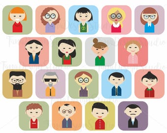 Cute Avatar Set Illustrations Vector Customizable ClipArt Characters