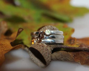 Stack ring with gold and gemstones, handmade autumn set rings