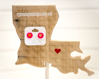Handmade Custom Pink and Gold Heart Biggie Bead Earrings