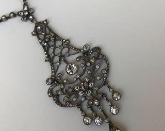 SALE -10% La Belle Époque silver and white gold paste diamond lavalier necklace pendant antique edwardian paste