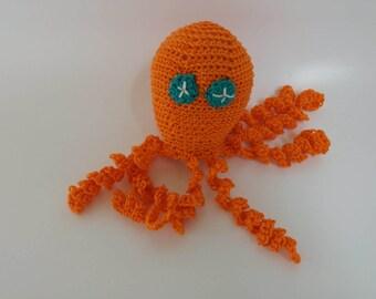Orange Amigurumi Octopus