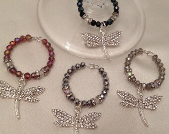 Silver Pave Dragonfly Wine Charms Set of 4