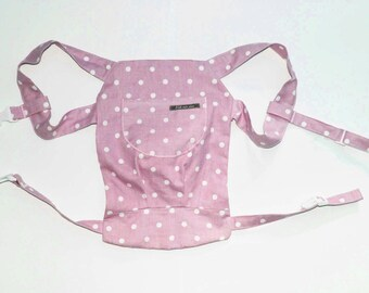 Doll carry/doll backpack polka dots Pink