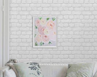 Floral Painting Art Acrylic Original // 25.5 × 30 cm on Paper