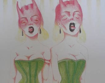 Devil Twins print from original design Patelli Art Women Corset red green Horns