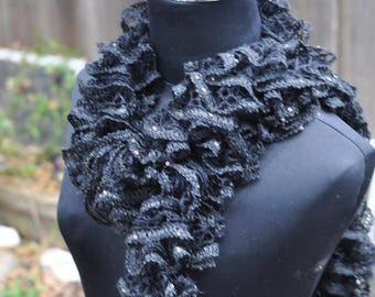 Sparkle black Ruffle scarf crocheted by hand and made with love