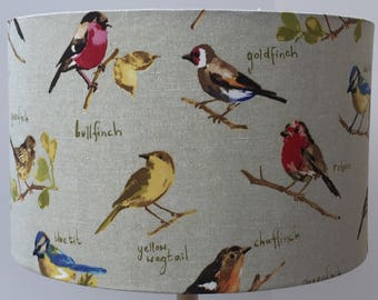Garden birds. Handmade fabric ceiling lampshade, 40cm x 25cm, robins, chaffinches, goldfinches, greenfinches etc
