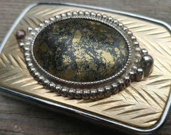 Vintage 70s Belt Buckle // Gold Foil Western Boho Belt Buckle