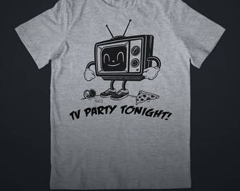 TV Party Screen Printed Tee (Heather Gray)