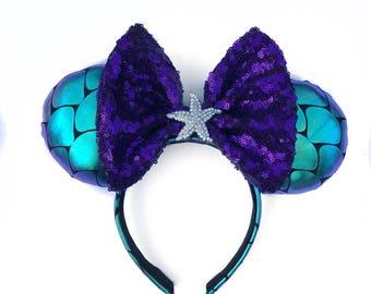 Ariel inspired ears , ariel ears , Little mermaid ears , mermaid ears , minnie ears , handmade ears