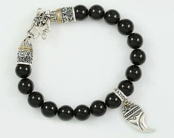 Bendosa Lion Claw Sterling Silver Charm 10mm Onyx Beaded Stretch Two Tone Bracelet BB-043
