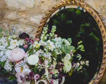 Beautiful Gold Bevelled Vintage Oval Mirror - Antique Decorative Ornate