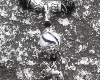 Zebra Murano Bead and Swarovski Crystal Necklace (necklace only)