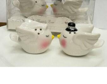 Ceramic lovebirds salt and pepper shakers