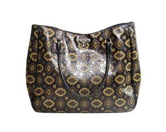 Authentic Prada Designer Black Leather Tile Tote Handbag