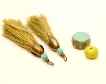 2 tassels, Khaki, Turquoise, Tassel bead