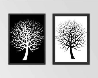 Two trees print, Black white tree print, Black tree prints, Instant tree print, Two tree wall art, Two tree print, Black tree wall art