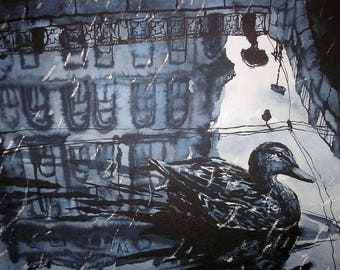 "Duck from Saint-Petersburg Art Original Ink Painting by Zuev Aleksei, 16x20"" painting, ink landscape, duck art, Blue Black Indigo"