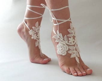 Beach wedding Barefoot Sandals Ivory White Pearl Hand process Lace Barefoot Sandals, Bridal Lace Sandals, Bridal Lace Shoes, French lace