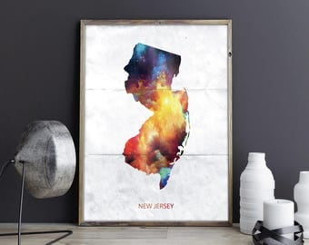 New Jersey Art New Jersey Wall Art New Jersey Decor New Jersey Photo New Jersey Print New Jersey Poster New Jersey State Map Watercolor Art