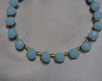 Wire wrapped Blue gemstone bangle bracelet