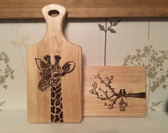 Pyrography giraffe/brid chopping board.