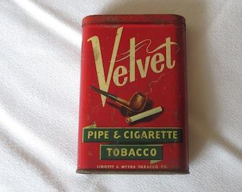 Vintage Velvet Pipe & Tobacco Tin